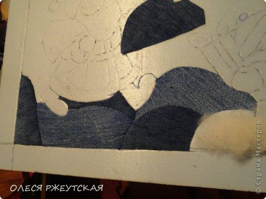 Картина панно рисунок Мастер-класс Новый год Аппликация Пэчворк В ОЖИДАНИИ ВОЛШЕБСТВА Бусинки Пенопласт Ткань фото 13