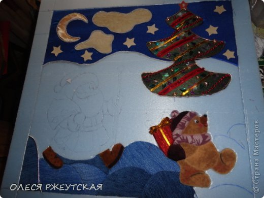 Картина панно рисунок Мастер-класс Новый год Аппликация Пэчворк В ОЖИДАНИИ ВОЛШЕБСТВА Бусинки Пенопласт Ткань фото 30