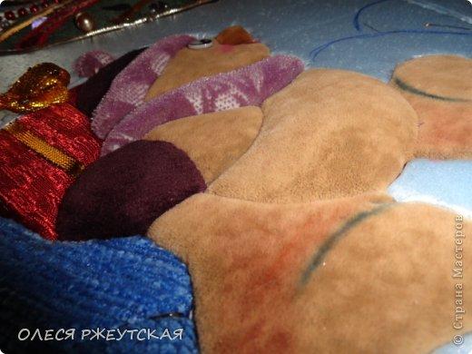 Картина панно рисунок Мастер-класс Новый год Аппликация Пэчворк В ОЖИДАНИИ ВОЛШЕБСТВА Бусинки Пенопласт Ткань фото 31