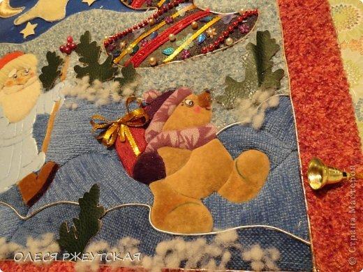 Картина панно рисунок Мастер-класс Новый год Аппликация Пэчворк В ОЖИДАНИИ ВОЛШЕБСТВА Бусинки Пенопласт Ткань фото 43