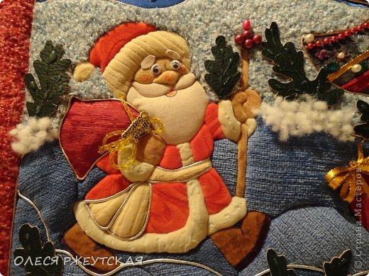 Картина панно рисунок Мастер-класс Новый год Аппликация Пэчворк В ОЖИДАНИИ ВОЛШЕБСТВА Бусинки Пенопласт Ткань фото 45