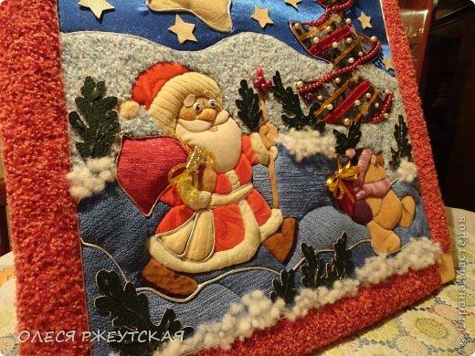 Картина панно рисунок Мастер-класс Новый год Аппликация Пэчворк В ОЖИДАНИИ ВОЛШЕБСТВА Бусинки Пенопласт Ткань фото 46