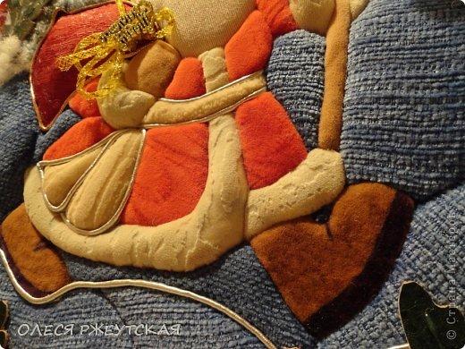 Картина панно рисунок Мастер-класс Новый год Аппликация Пэчворк В ОЖИДАНИИ ВОЛШЕБСТВА Бусинки Пенопласт Ткань фото 47