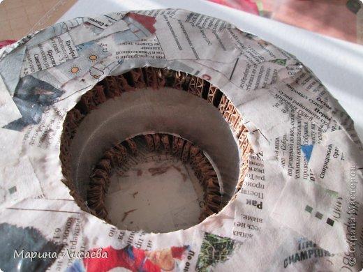 Мастер-класс Поделка изделие Папье-маше Ваза мастер-класс Бумага газетная Картон гофрированный Тесьма шнур фото 7