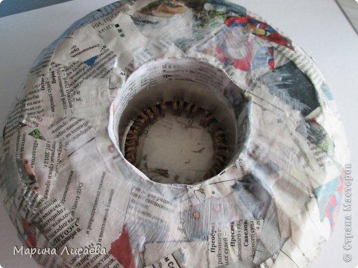Мастер-класс Поделка изделие Папье-маше Ваза мастер-класс Бумага газетная Картон гофрированный Тесьма шнур фото 8