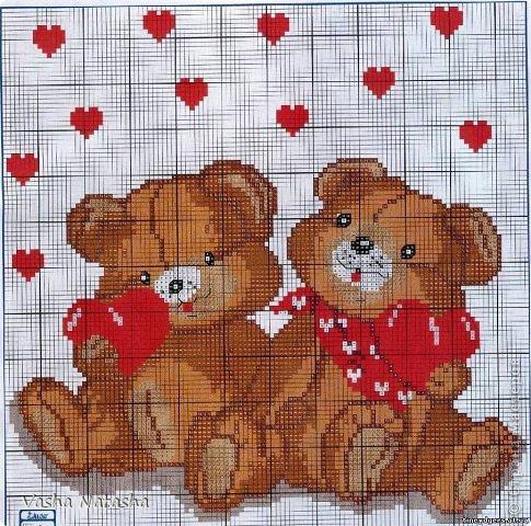 Влюбленные мишки + схема
