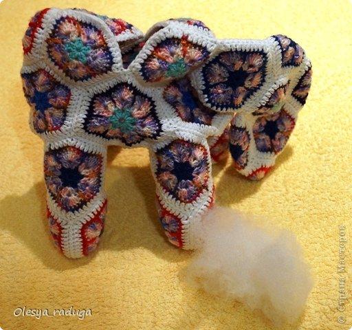 Мастер-класс Новый год Вязание МК по лошадке из мотивов африканский цветок Нитки фото 13