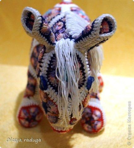 Мастер-класс Новый год Вязание МК по лошадке из мотивов африканский цветок Нитки фото 20