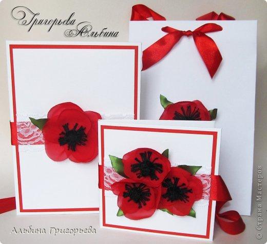"""Комплект """"Маки""""для молодожёнов на тематическую свадьбу!  1) конверт на 2 диска; 2) коробочка для фото 15 х 21; 3) пакет. Дизайнерский картон - лён, кружево, маки из органзы!"""