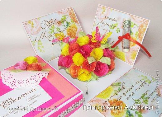 """Magic Box!  Пожелания для самой родной Мамы - Бабушки - Тёщи! Коробочка с сюрпризом букет роз и """"летящие"""" бабочки! Розы делала из бумажных формочек для кексов, предварительно покрасив пищевой краской!"""