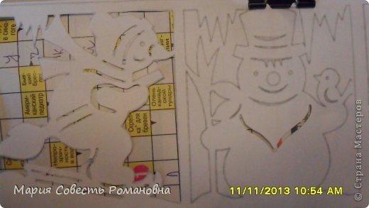Картина панно рисунок Новый год Вырезание Работа на конкурс Ёлки-палки Новый Год Снеговики Бумага фото 5