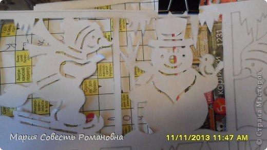 Картина панно рисунок Новый год Вырезание Работа на конкурс Ёлки-палки Новый Год Снеговики Бумага фото 6