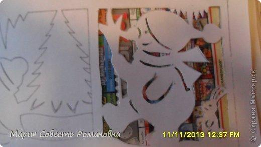 Картина панно рисунок Новый год Вырезание Работа на конкурс Ёлки-палки Новый Год Снеговики Бумага фото 8