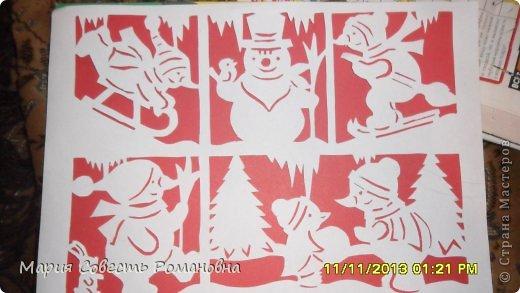 Картина панно рисунок Новый год Вырезание Работа на конкурс Ёлки-палки Новый Год Снеговики Бумага фото 10