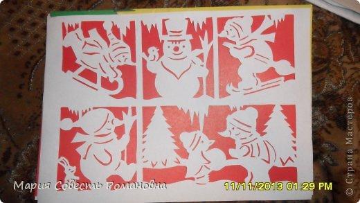 Картина панно рисунок Новый год Вырезание Работа на конкурс Ёлки-палки Новый Год Снеговики Бумага фото 2