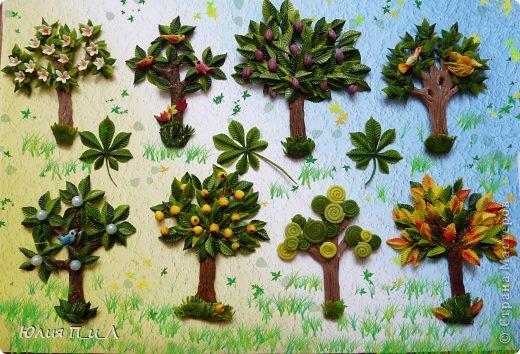 Деревья и кленовые листья пластилин