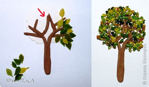 """Здравствуйте!Продолжаю делиться, своим """"багажом"""". Эти деревца-магнитики на холодильник я тоже сделала с полгода назад,многие уже раздарила, что успела сфотографировать - смотрим дальше... Подаю как саму идею для лепки из ХФ, пластики, пластилина,соленого теста. Можно использовать как магниты или элементы панно. фото 5"""