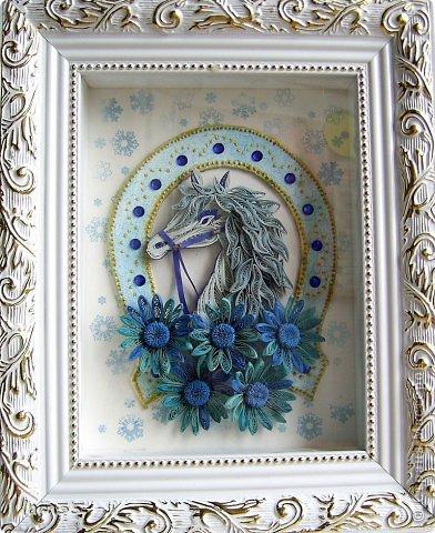 Игра конкурс Картина панно рисунок Мастер-класс Новый год Квиллинг Кракелюр Я люблю свою лошадку мини МК Бумага Бумажные полосы фото 3