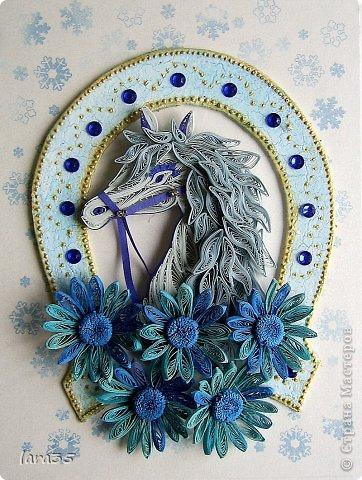 Игра конкурс Картина панно рисунок Мастер-класс Новый год Квиллинг Кракелюр Я люблю свою лошадку мини МК Бумага Бумажные полосы фото 1