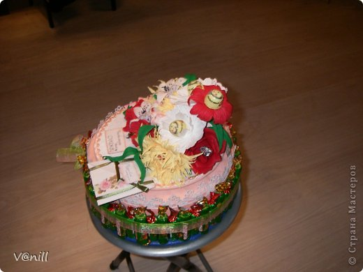 Привет всем жителям СМ! Решилась наконец-то сваять тортик из конфет (спасибо приятелю, что попросил сделать подарок на день рождения мамы). Вот что получилось. К тортику прилагалась небольшая открыточка с пожеланием. фото 3
