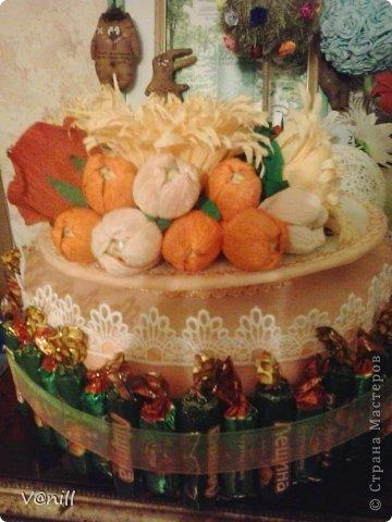 Привет всем жителям СМ! Решилась наконец-то сваять тортик из конфет (спасибо приятелю, что попросил сделать подарок на день рождения мамы). Вот что получилось. К тортику прилагалась небольшая открыточка с пожеланием. фото 7