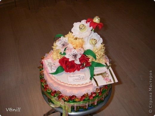 Привет всем жителям СМ! Решилась наконец-то сваять тортик из конфет (спасибо приятелю, что попросил сделать подарок на день рождения мамы). Вот что получилось. К тортику прилагалась небольшая открыточка с пожеланием.
