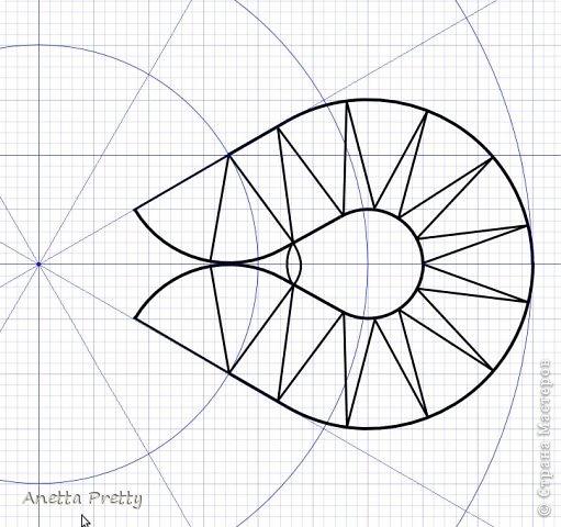Цветок с 6 лепестками  6 одинаковых лепестков и в каждом есть линия симметрии, т. е. достаточно нарисовать 1/12 часть, потом ее отразить и размножить.  Настраиваем рабочую область. Сетка 1 мм. Сдвиг 1 мм. Показать сетку. Привязать к сетке и объектам. Проводим направляющие с центром в одной точке и под углами кратными 30 градусам. Блокируем их. Строим вспомогательные линии: окружность на которой находятся центры поворотов с закидками радиусов 2 см. И окружность с центрами лепестков цветка радиусом 3 см. Окружность, ограничиващую цветок радиусом 4,5 см. Блокируем их. фото 7