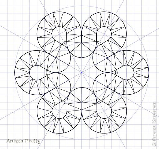 Цветок с 6 лепестками  6 одинаковых лепестков и в каждом есть линия симметрии, т. е. достаточно нарисовать 1/12 часть, потом ее отразить и размножить.  Настраиваем рабочую область. Сетка 1 мм. Сдвиг 1 мм. Показать сетку. Привязать к сетке и объектам. Проводим направляющие с центром в одной точке и под углами кратными 30 градусам. Блокируем их. Строим вспомогательные линии: окружность на которой находятся центры поворотов с закидками радиусов 2 см. И окружность с центрами лепестков цветка радиусом 3 см. Окружность, ограничиващую цветок радиусом 4,5 см. Блокируем их. фото 8