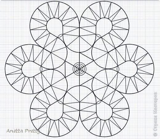Цветок с 6 лепестками  6 одинаковых лепестков и в каждом есть линия симметрии, т. е. достаточно нарисовать 1/12 часть, потом ее отразить и размножить.  Настраиваем рабочую область. Сетка 1 мм. Сдвиг 1 мм. Показать сетку. Привязать к сетке и объектам. Проводим направляющие с центром в одной точке и под углами кратными 30 градусам. Блокируем их. Строим вспомогательные линии: окружность на которой находятся центры поворотов с закидками радиусов 2 см. И окружность с центрами лепестков цветка радиусом 3 см. Окружность, ограничиващую цветок радиусом 4,5 см. Блокируем их. фото 10