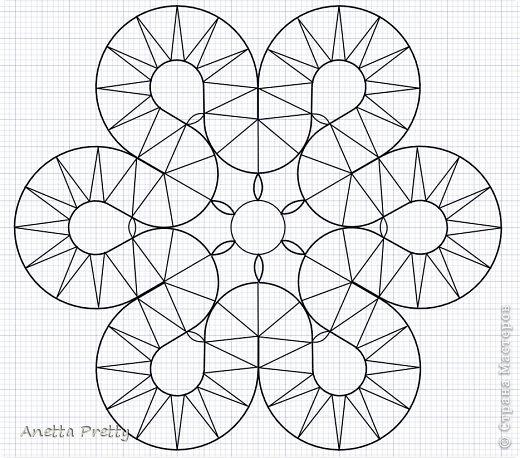 Цветок с 6 лепестками  6 одинаковых лепестков и в каждом есть линия симметрии, т. е. достаточно нарисовать 1/12 часть, потом ее отразить и размножить.  Настраиваем рабочую область. Сетка 1 мм. Сдвиг 1 мм. Показать сетку. Привязать к сетке и объектам. Проводим направляющие с центром в одной точке и под углами кратными 30 градусам. Блокируем их. Строим вспомогательные линии: окружность на которой находятся центры поворотов с закидками радиусов 2 см. И окружность с центрами лепестков цветка радиусом 3 см. Окружность, ограничиващую цветок радиусом 4,5 см. Блокируем их. фото 11