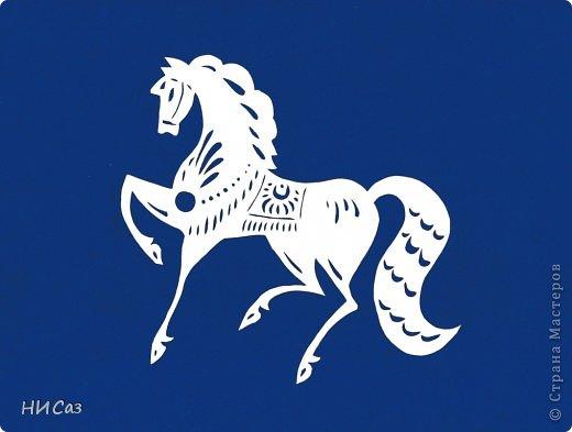 Картина панно рисунок Новый год Вырезание Полнение моего лошадиного табунчика Бумага фото 1