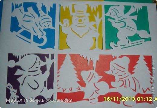 Картина панно рисунок Новый год Вырезание Работа на конкурс Ёлки-палки Новый Год Снеговики Бумага фото 1