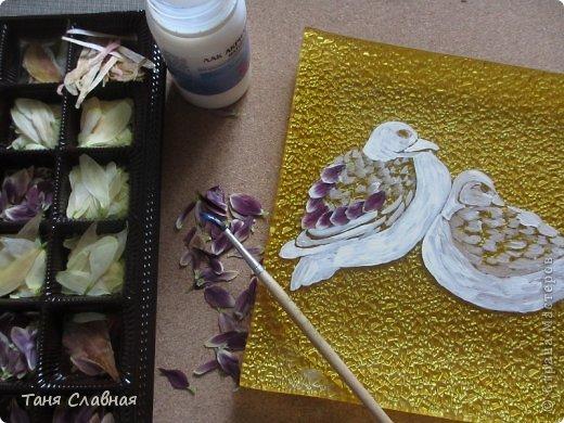 Декор предметов Мастер-класс Аппликация Рисование и живопись Аппликация сухими лепестками цветов -2 Клей Краска Листья Материал природный Трава фото 10