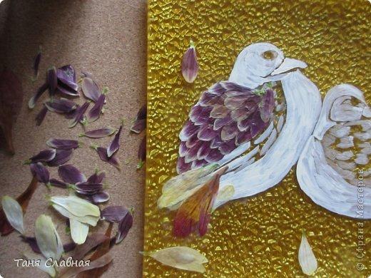 Декор предметов Мастер-класс Аппликация Рисование и живопись Аппликация сухими лепестками цветов -2 Клей Краска Листья Материал природный Трава фото 11