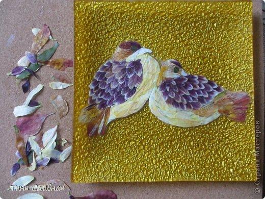 Декор предметов Мастер-класс Аппликация Рисование и живопись Аппликация сухими лепестками цветов -2 Клей Краска Листья Материал природный Трава фото 13