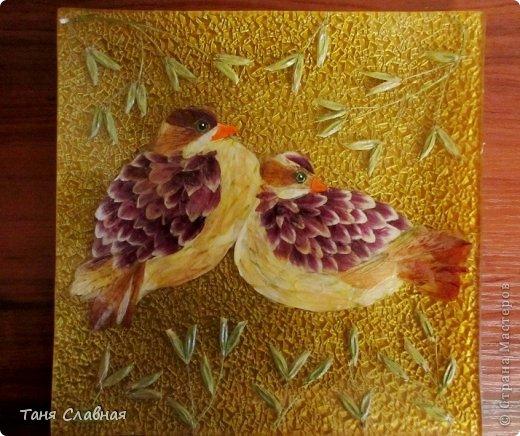 Декор предметов Мастер-класс Аппликация Рисование и живопись Аппликация сухими лепестками цветов -2 Клей Краска Листья Материал природный Трава фото 2