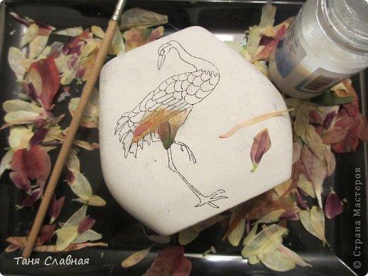 Декор предметов Мастер-класс Аппликация Рисование и живопись Аппликация сухими лепестками цветов -2 Клей Краска Листья Материал природный Трава фото 22