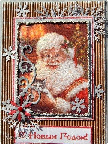 """Новогодние открыточки. Делались очень долго Подобную видела в интернете, тоже вот сделала. Морозика распечатала на фактурной бумаге, добавила """"снежок"""" - микробисер фото 2"""