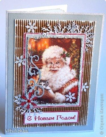 """Новогодние открыточки. Делались очень долго Подобную видела в интернете, тоже вот сделала. Морозика распечатала на фактурной бумаге, добавила """"снежок"""" - микробисер фото 3"""