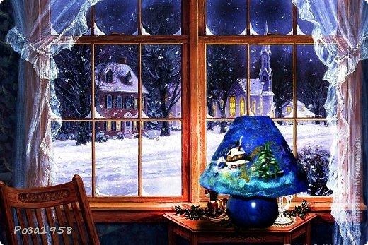 Ночник к рождеству.Выполнен методом мокрого валяния, шерстяная акварель. Высота 28 см.Материалы : меринос,кардочес,вискоза,шелк,стеклянные бусины,крашеная марля. фото 1