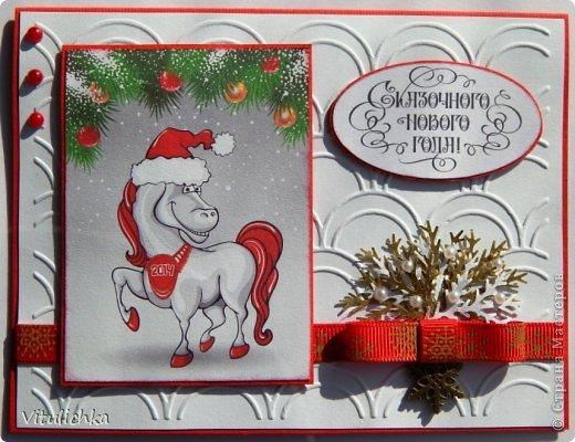 """Новогодние открыточки. Делались очень долго Подобную видела в интернете, тоже вот сделала. Морозика распечатала на фактурной бумаге, добавила """"снежок"""" - микробисер фото 9"""