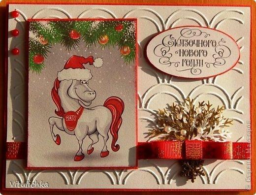 """Новогодние открыточки. Делались очень долго Подобную видела в интернете, тоже вот сделала. Морозика распечатала на фактурной бумаге, добавила """"снежок"""" - микробисер фото 7"""