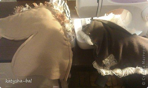 В связи с приближением Нового Года 2014, символом которого будет лошадь, решила сделать вот таких лошадок для конкурсов, ну и для ребенка. Очень долго искала как их сделать красивыми, практичными, и чтоб были не дорогими, и наконец-то нашла. Спасибо ОГРОМНОЕ http://www.lizon.org/2011/02/hobby-horse.html   за ее мастер класс, но я немного сделала по своему. Выкройку брала с этого же сайта. И вот такие красавцы получились. Уже даже имена им с дочкой придумали, темненький это ГРАФ а светленькая это КВІТОЧКА.)))) Что для работы нужно:  грива из бахромы, сложенной в несколько раз, глазки с пуговиц или красивых бусинок делаем, разные ленточки и тесемки, колечки от брелков ненужных, пух или синтепон для набивки. (я использовала пух со старой бабушкиной подушки) палку купила в строительном магазине, держак для лопаты, и перепилили на 2 части, ну и как для меня самое главное клей пистолет- без которого ничего не делаю.)))) фото 7