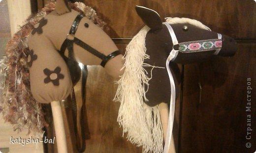 В связи с приближением Нового Года 2014, символом которого будет лошадь, решила сделать вот таких лошадок для конкурсов, ну и для ребенка. Очень долго искала как их сделать красивыми, практичными, и чтоб были не дорогими, и наконец-то нашла. Спасибо ОГРОМНОЕ http://www.lizon.org/2011/02/hobby-horse.html   за ее мастер класс, но я немного сделала по своему. Выкройку брала с этого же сайта. И вот такие красавцы получились. Уже даже имена им с дочкой придумали, темненький это ГРАФ а светленькая это КВІТОЧКА.)))) Что для работы нужно:  грива из бахромы, сложенной в несколько раз, глазки с пуговиц или красивых бусинок делаем, разные ленточки и тесемки, колечки от брелков ненужных, пух или синтепон для набивки. (я использовала пух со старой бабушкиной подушки) палку купила в строительном магазине, держак для лопаты, и перепилили на 2 части, ну и как для меня самое главное клей пистолет- без которого ничего не делаю.)))) фото 1