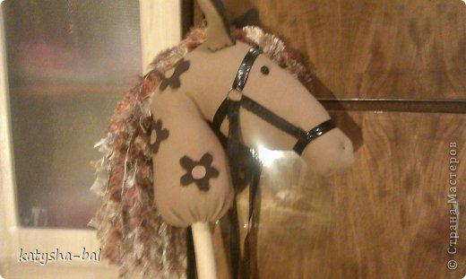 В связи с приближением Нового Года 2014, символом которого будет лошадь, решила сделать вот таких лошадок для конкурсов, ну и для ребенка. Очень долго искала как их сделать красивыми, практичными, и чтоб были не дорогими, и наконец-то нашла. Спасибо ОГРОМНОЕ http://www.lizon.org/2011/02/hobby-horse.html   за ее мастер класс, но я немного сделала по своему. Выкройку брала с этого же сайта. И вот такие красавцы получились. Уже даже имена им с дочкой придумали, темненький это ГРАФ а светленькая это КВІТОЧКА.)))) Что для работы нужно:  грива из бахромы, сложенной в несколько раз, глазки с пуговиц или красивых бусинок делаем, разные ленточки и тесемки, колечки от брелков ненужных, пух или синтепон для набивки. (я использовала пух со старой бабушкиной подушки) палку купила в строительном магазине, держак для лопаты, и перепилили на 2 части, ну и как для меня самое главное клей пистолет- без которого ничего не делаю.)))) фото 16