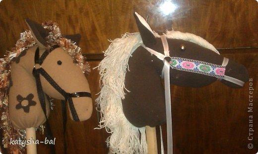 В связи с приближением Нового Года 2014, символом которого будет лошадь, решила сделать вот таких лошадок для конкурсов, ну и для ребенка. Очень долго искала как их сделать красивыми, практичными, и чтоб были не дорогими, и наконец-то нашла. Спасибо ОГРОМНОЕ http://www.lizon.org/2011/02/hobby-horse.html   за ее мастер класс, но я немного сделала по своему. Выкройку брала с этого же сайта. И вот такие красавцы получились. Уже даже имена им с дочкой придумали, темненький это ГРАФ а светленькая это КВІТОЧКА.)))) Что для работы нужно:  грива из бахромы, сложенной в несколько раз, глазки с пуговиц или красивых бусинок делаем, разные ленточки и тесемки, колечки от брелков ненужных, пух или синтепон для набивки. (я использовала пух со старой бабушкиной подушки) палку купила в строительном магазине, держак для лопаты, и перепилили на 2 части, ну и как для меня самое главное клей пистолет- без которого ничего не делаю.)))) фото 18