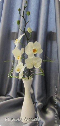 Здравствуйте, уважаемые жители Страны Мастеров! Наконец-то я слепила свою давнюю мечту- орхидею. Временно поставила ее в вазочку. Хотела сделать с ней композицию, но..... не успела. На нее нашелся покупатель, который захотел забрать ее в таком виде. Лепила из полимерной глины Модена. Глина конечно отличная, работать с ней одно удовольствие. Выставляю свою работу на ваш компетентный суд. фото 1