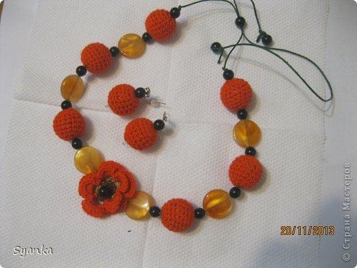 Набор бусы и сережки. Золотая осень. фото 1