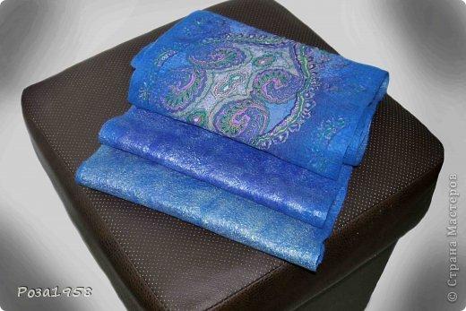 Валяный мужской шарф.Материалы :шерсть мериноса 18 мкр ,шифон.Волокна вискозы. Размер 155 на 28 . фото 3