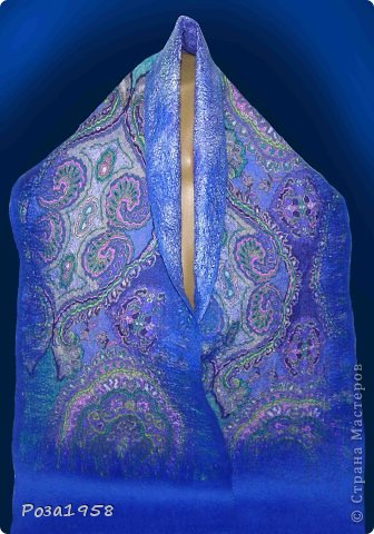 Валяный мужской шарф.Материалы :шерсть мериноса 18 мкр ,шифон.Волокна вискозы. Размер 155 на 28 . фото 1